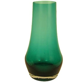 1960's Riihimaen Lasi Retro Green Glass Vase