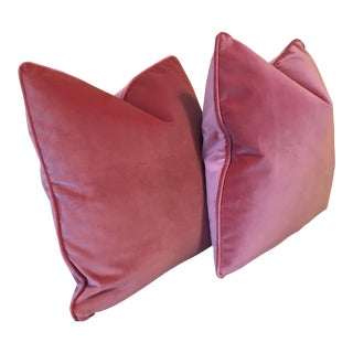 Soft Pink Plush Velvet Pillows - A Pair