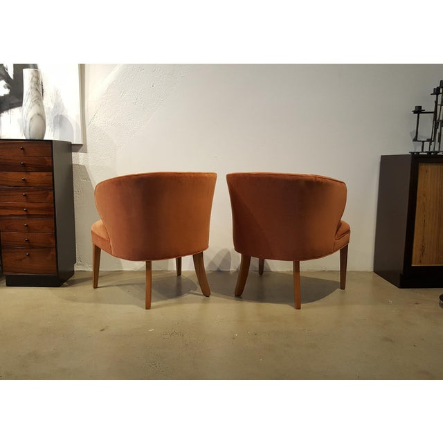 1960s Apricot Velvet Scandinavian Armchairs - A Pair - Image 4 of 6