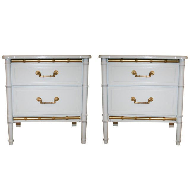 Henry Link White Faux Bamboo Nightstands - A Pair - Image 2 of 6