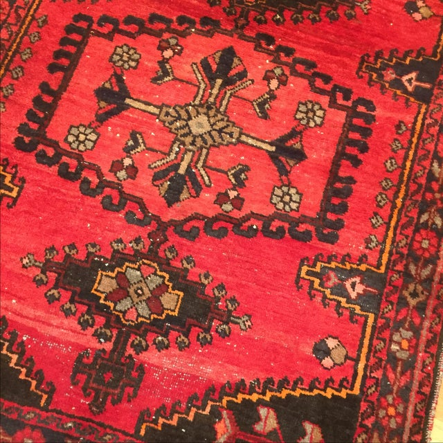 Vintage Hand-Knotted Red Rug - 3′8″ × 4′10″ - Image 4 of 6