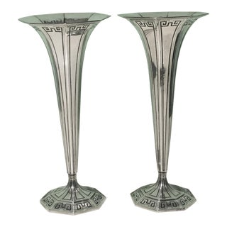 Antique Tiffany & Co. Sterling Trumpet Vases - A Pair