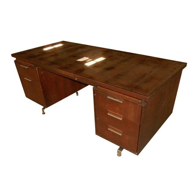 Mid-Century Modern Walnut Executive Desk - Image 1 of 5