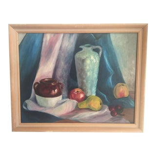 Vintage Fruit & Vase Still Life Painting
