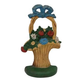 Cast Iron Flower Basket Doorstop