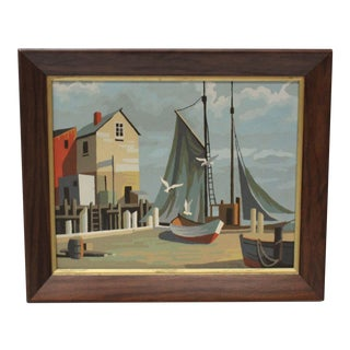 Mid-Century Boats in Port Painting