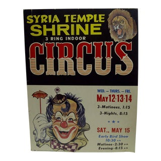 Circa 1960 Syria Temple Shrine 3-Ring Indoor Circus Poster