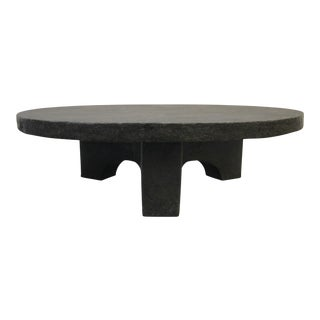 Paul Evans Style Mid-Century Brutalist Round Stone Coffee Table