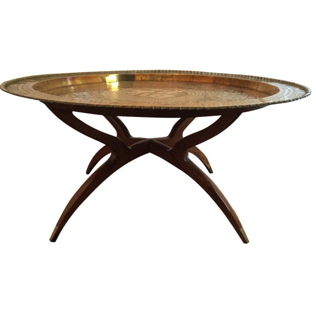 MCM Oriental Brass Tray Table - Image 1 of 10