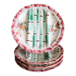 Antique French Longchamp Majolica Asparagus Plates - Set of 4