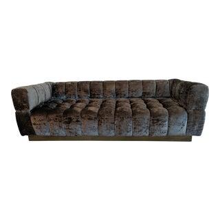 Adesso Charcoal Brown Velvet Tufted Sofa