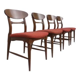 Vintage Walnut Danish Dining Chairs - Set of 4