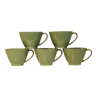 Retro Avocado Green Lenotex Melamine Cups - Set of 5