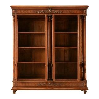 Original 6 x 5' Antq. French Walnut Henri II 4 Door Bibliotheque