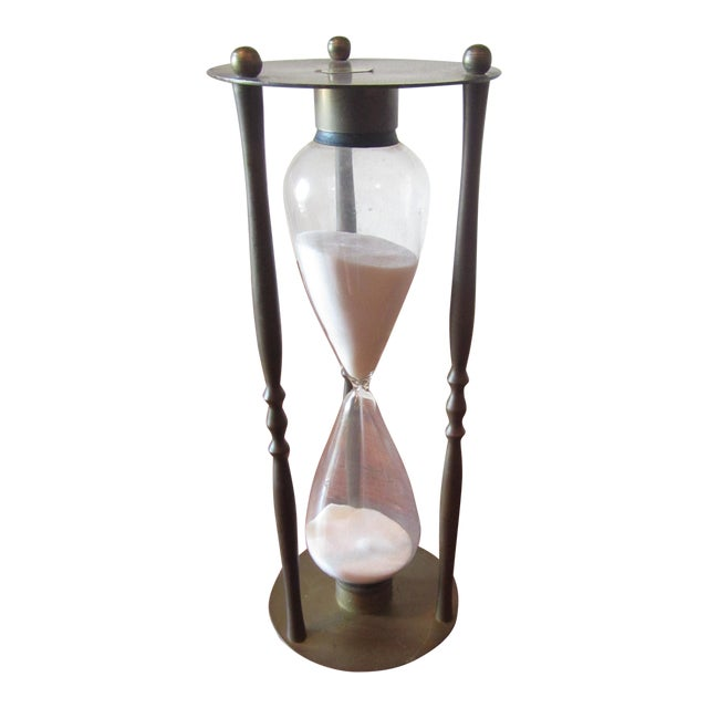 Mid-Century Modern Brass Hourglass Sand Timer - Image 1 of 7
