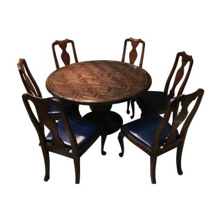 Dining Set with Herringbone Pattern