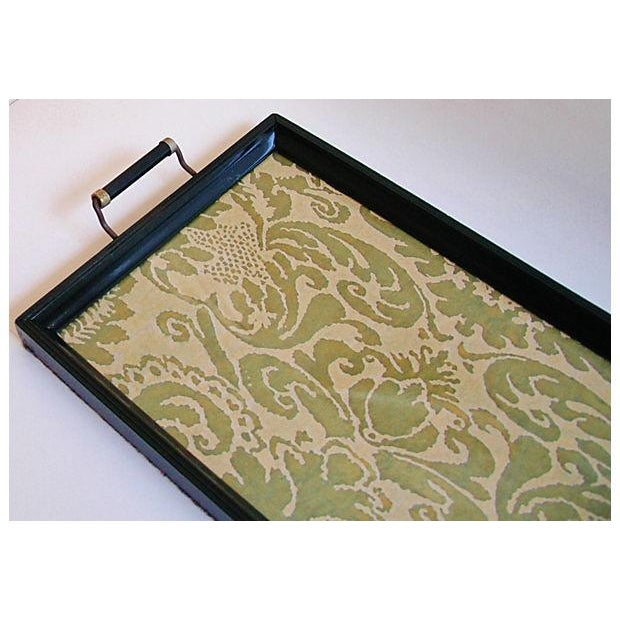 1930s Cocktail Serving Tray W/ Fortuny Fabric - Image 5 of 8