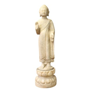 Chinese Distressed Brown White Stone Standing Abhaya Mudra Buddha Statue