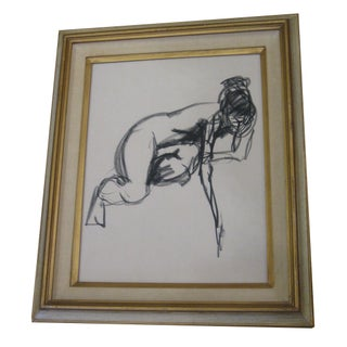 Vintage Charcoal Figure Drawing of Woman