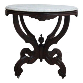Antique Victorian Carved Walnut Marble Top Table