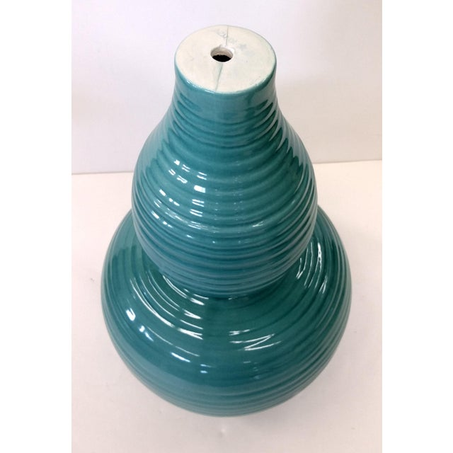 Transitional Turquoise Ribbed Custom Lamp Base - Image 6 of 11