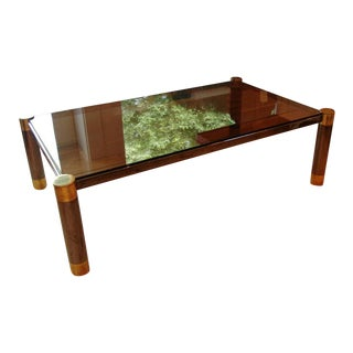 "Karl Springer ""Round Leg Coffee Table"" in Steel and Brass"