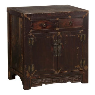 Antique Chinese Two Door Cabinet, Original Lacquered Surface, Kuang Hsu Period,circa 1875