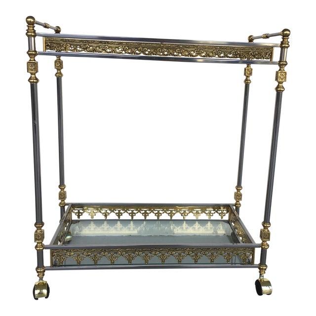 Modern and Classic Italian Brass & Glass Bar Cart - Image 1 of 8
