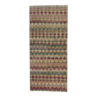Zeki Muren Distressed Vintage Turkish Sivas Rug - 4′ × 9′1″