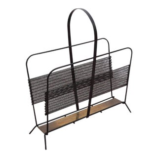 Mathieu Matégot Magazine Racks or Stand or Tray in Black and Brass France, 1950s