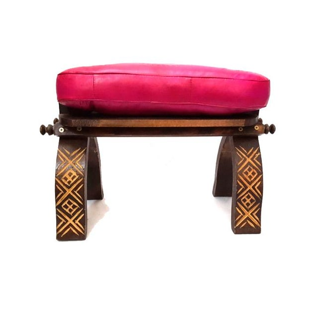 Fuchsia moroccan handmade leather bench chairish Moroccan bench