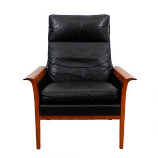 Hans Olsen Danish Modern Leather and Teak Lounge Chair