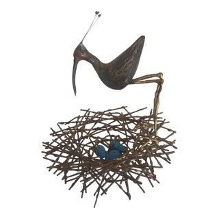 Vintage Brass Sculpture of Bird With Eggs & Nest