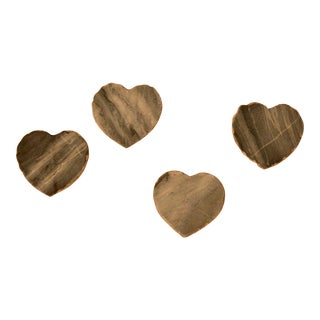 Heart Shaped Gold Edge Stone Coasters - Set of 4