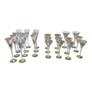 23 Misc Pieces Mikasa Vogue Frost Fire Frosted & Clear Crystal Stemware Glasses