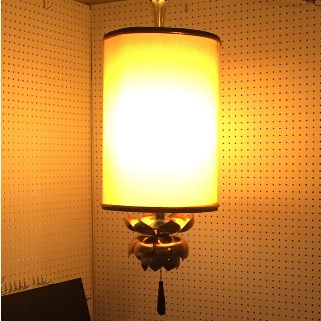 Feldman Brass Lotus Flower Hanging Drum Lamp - Image 2 of 8