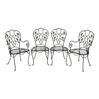 Salterini Wrought Iron Ivy Pattern Patio Dining Chairs - Set of 4