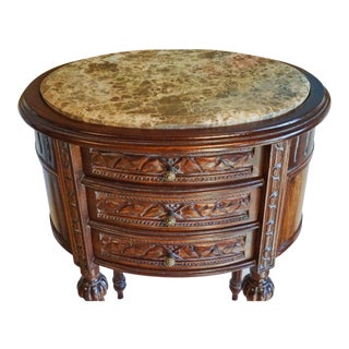 French Style Marbletop 3 Drawer End Table