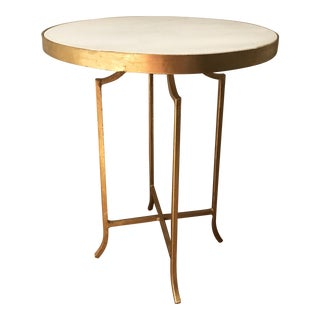 Aidan Gray Hollywood Regency White Marble Topped Gold Leaf End Table