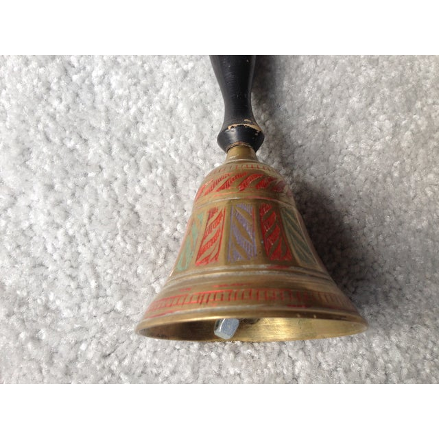 Vintage Brass Bell in Red, Green and Blue Tones - Image 4 of 9