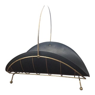 Modernist Brass Metal Log Firewood Holder