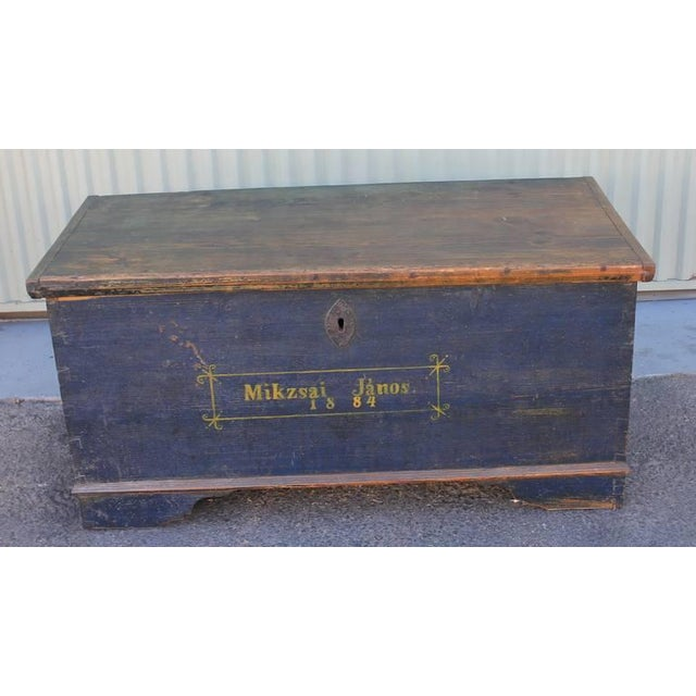 19th Century Original, Blue Painted Blanket Chest - Image 2 of 10