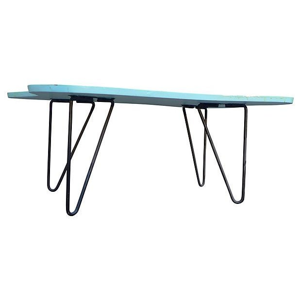 Mid-Century Turquoise Hairpin Coffee Table - Image 5 of 5