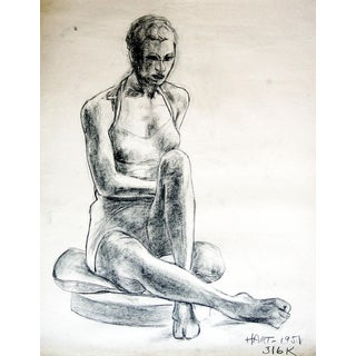 1950s Charcoal Figural Study Drawing