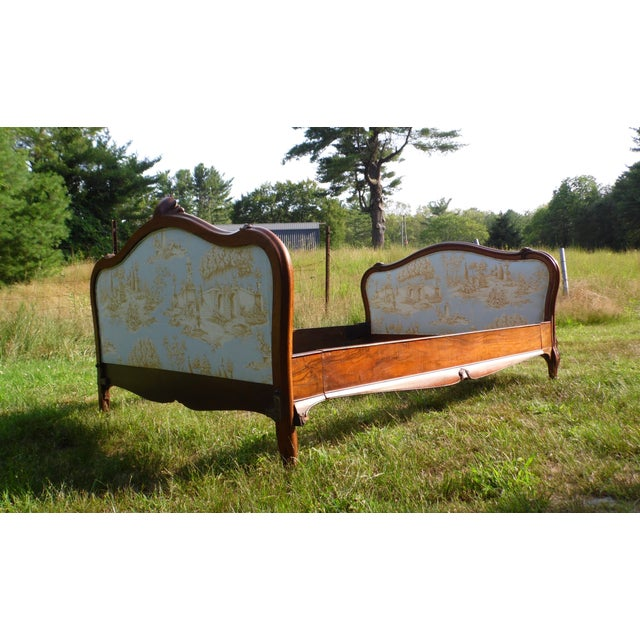 Antique French Louis XV Carved Solid Wood Toile Upholstered Full Double Bed - Image 5 of 11
