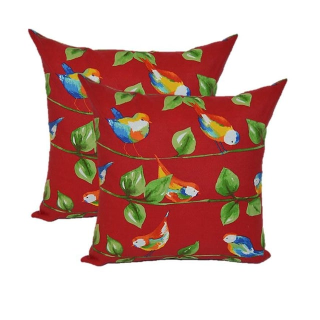 Berry Red Curious Birds Outdoor Pillows - Pair - Image 1 of 2
