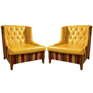 Mid-Century Modern Tufted Wing Chairs - Pair