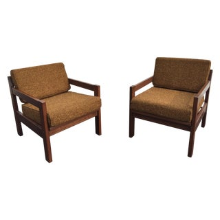 Mid-Century Tweed and Wood Lounge Chairs - Pair
