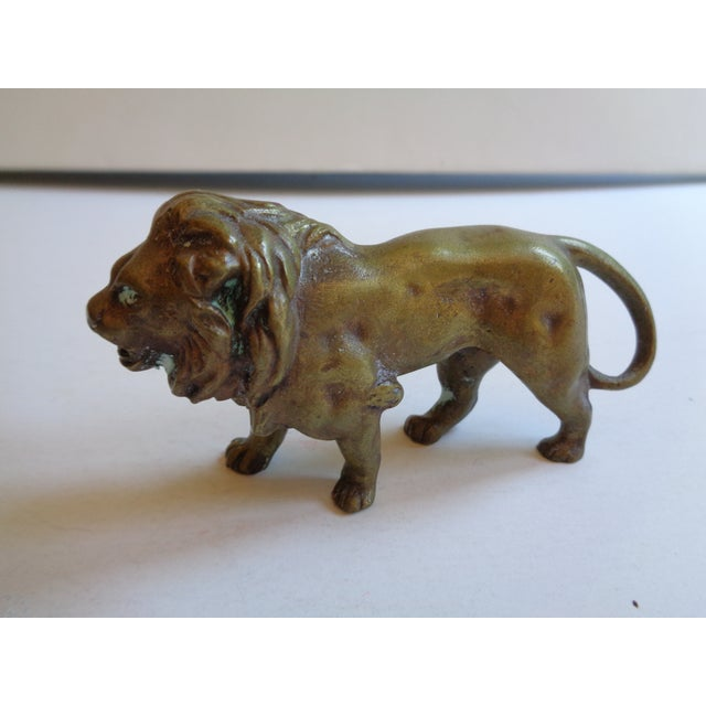 Vintage Solid Brass Lion Paperweight Figurine - Image 2 of 5