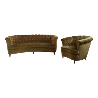 Scandanavian Curved Sofa & Lounge Chair - A Pair
